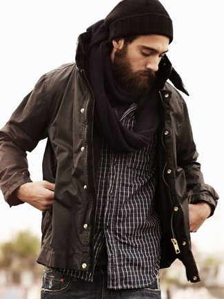 How to Wear a Black Knit Scarf For Men: You'll be amazed at how easy it is for any guy to get dressed this way. Just a dark brown parka worn with a black knit scarf.