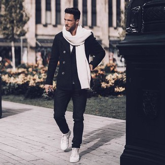 How to wear: white leather high top sneakers, black jeans, white crew-neck t-shirt, black pea coat