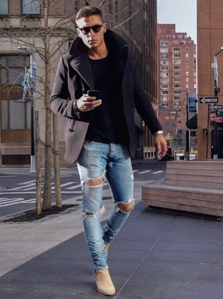 How to Wear Beige Suede Chelsea Boots In Your 30s For Men: Consider teaming a navy pea coat with light blue ripped jeans for a functional outfit that's also pulled together nicely. To bring some extra fanciness to this ensemble, complement your ensemble with beige suede chelsea boots.