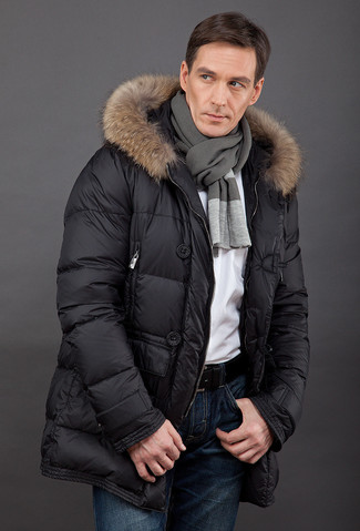How to wear: charcoal scarf, navy jeans, white crew-neck t-shirt, black puffer coat