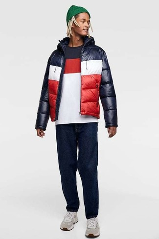 How to wear: grey athletic shoes, navy jeans, white and red and navy crew-neck t-shirt, white and red and navy puffer jacket