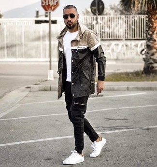 How to wear: white leather low top sneakers, black jeans, white crew-neck t-shirt, black raincoat