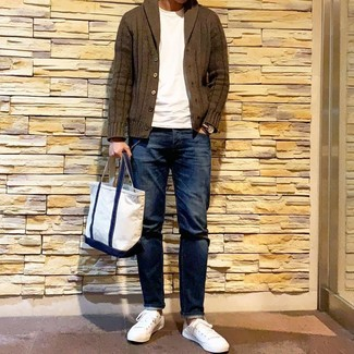 How to wear: white low top sneakers, navy jeans, white crew-neck t-shirt, olive shawl cardigan