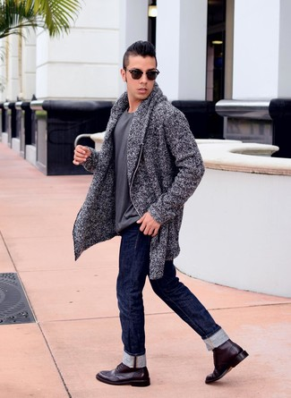 How to wear: burgundy leather brogue boots, navy jeans, charcoal crew-neck t-shirt, charcoal shawl cardigan