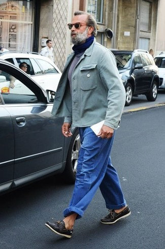 How to wear: black leather boat shoes, blue jeans, grey crew-neck t-shirt, mint shirt jacket