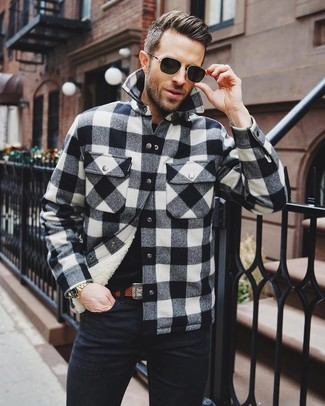 How to wear: brown leather belt, black jeans, black crew-neck t-shirt, black and white check shirt jacket