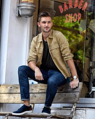 How to wear: navy suede double monks, navy jeans, charcoal crew-neck t-shirt, tan shirt jacket