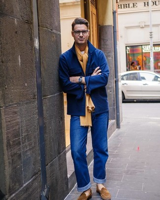 How to wear: brown suede loafers, blue jeans, white crew-neck t-shirt, navy wool shirt jacket