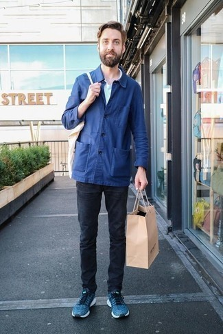 How to Wear a White Canvas Tote Bag For Men: This pairing of a blue shirt jacket and a white canvas tote bag spells comfort and dapper menswear style. Complement this outfit with a pair of blue athletic shoes and the whole outfit will come together perfectly.