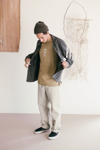 How to Wear a Tan Print Crew-neck T-shirt For Men: This casual pairing of a tan print crew-neck t-shirt and white jeans is a surefire option when you need to look stylish but have zero time. Black canvas slip-on sneakers will give an extra touch of style to an otherwise too-common look.
