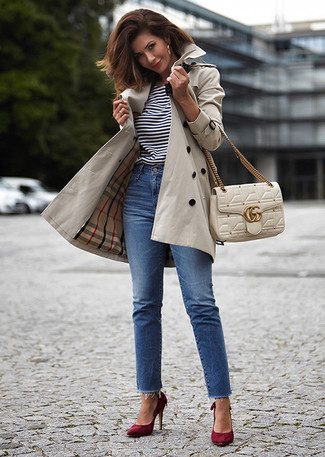 How to Wear a Trenchcoat For Women: Consider pairing a trenchcoat with blue jeans for a relaxed casual and fashionable ensemble. If you're clueless about how to round off, a pair of burgundy suede pumps is a foolproof option.