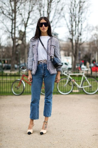 How to wear: black and tan leather pumps, blue jeans, white crew-neck t-shirt, grey tweed jacket