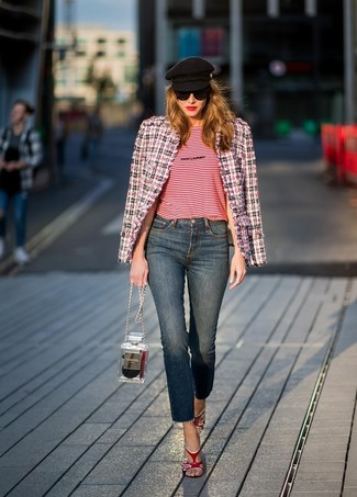 How to wear: red leather heeled sandals, navy jeans, red horizontal striped crew-neck t-shirt, white and red and navy tweed jacket