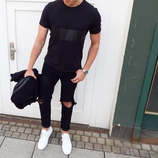 How to wear: white low top sneakers, black ripped jeans, black crew-neck t-shirt, black varsity jacket