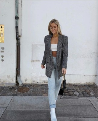 How to wear: white leather ankle boots, light blue jeans, white cropped top, grey plaid double breasted blazer