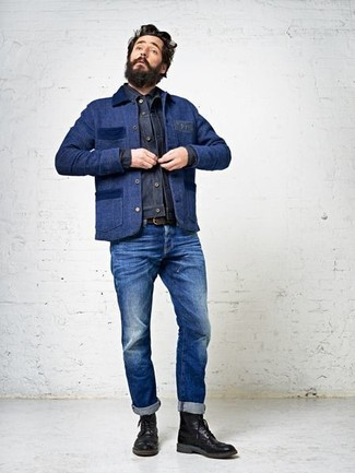 How to wear: black leather brogue boots, blue jeans, navy denim jacket, navy barn jacket