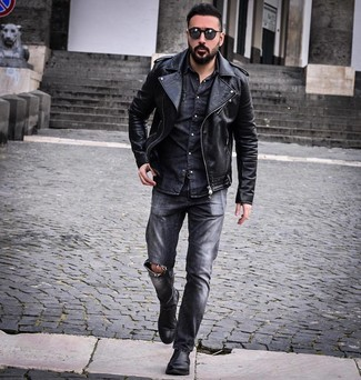 How to Wear Charcoal Ripped Jeans For Men: If you're hunting for a casual and at the same time on-trend ensemble, team a black leather biker jacket with charcoal ripped jeans. You can get a bit experimental with footwear and add a pair of black leather chelsea boots to the equation.
