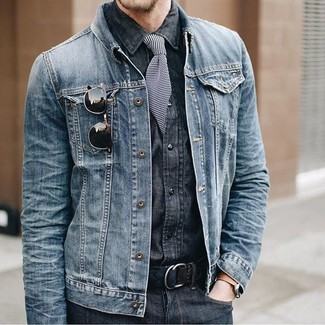 How to wear: black and white horizontal striped tie, charcoal jeans, charcoal denim shirt, blue denim jacket