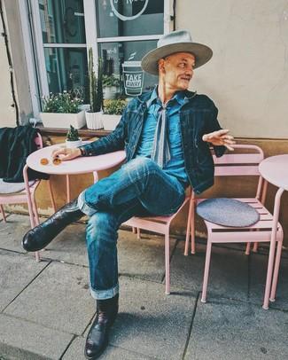 How to wear: burgundy leather cowboy boots, blue jeans, blue denim shirt, navy denim jacket