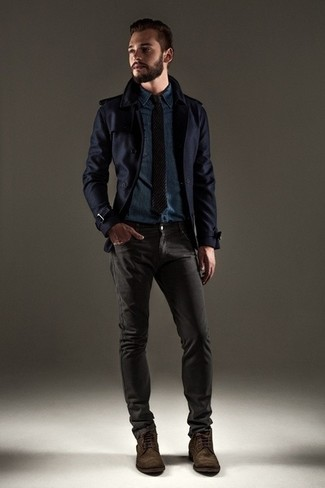 How to wear: dark brown suede casual boots, charcoal jeans, navy denim shirt, navy pea coat