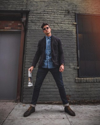 How to wear: dark brown leather boat shoes, navy jeans, blue denim shirt, black shirt jacket