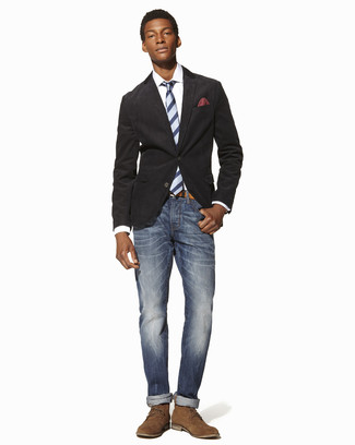 How to wear: tan suede desert boots, blue jeans, white dress shirt, charcoal cotton blazer