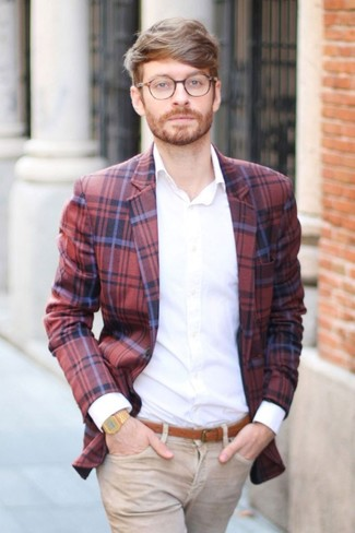 How to wear: tobacco leather belt, khaki jeans, white dress shirt, red and navy plaid blazer