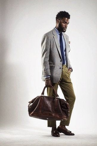 How to wear: dark brown leather tassel loafers, olive corduroy jeans, light blue dress shirt, grey plaid blazer