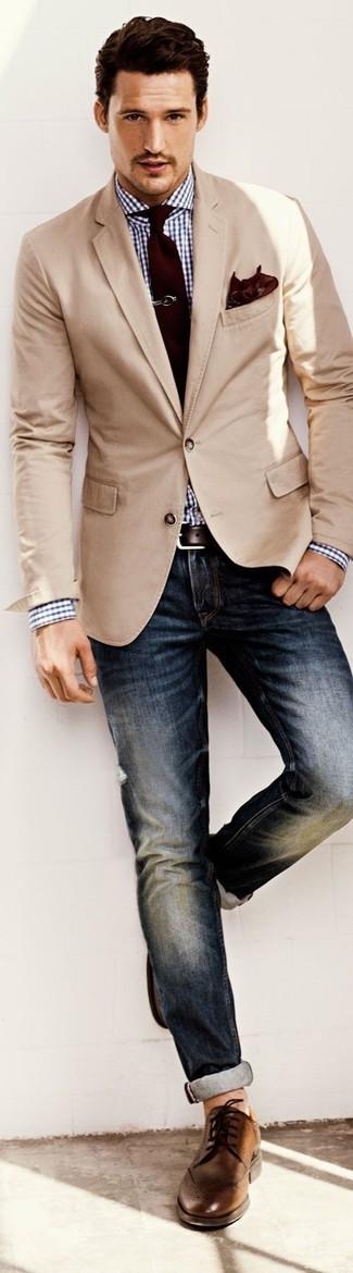 How to wear: brown leather brogues, navy jeans, white and navy gingham dress shirt, beige blazer