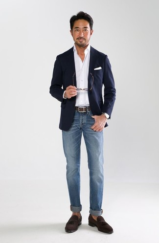 b35454c2f5eebe How To Wear a Navy Blazer With Blue Jeans For Men (167 looks ...