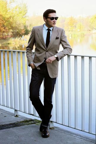 How to wear: dark brown leather derby shoes, black jeans, light blue dress shirt, tan blazer