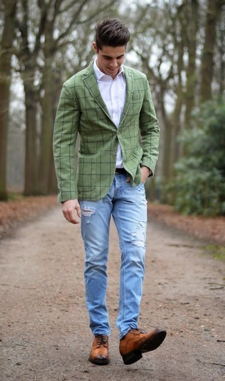 How to wear: brown leather brogues, light blue ripped jeans, white dress shirt, olive check blazer