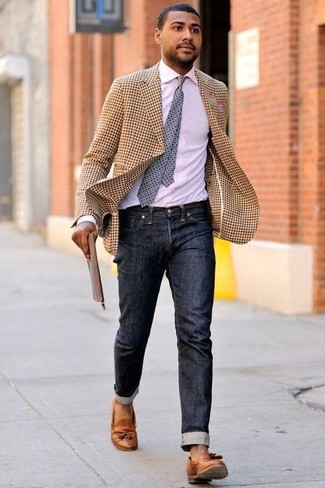 How to wear: tobacco leather tassel loafers, black jeans, white dress shirt, tan gingham blazer