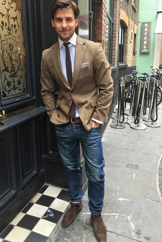 How to wear: brown suede chelsea boots, blue jeans, light blue dress shirt, brown wool blazer