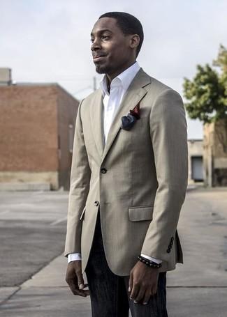 How to wear: burgundy silk pocket square, black jeans, white dress shirt, beige blazer