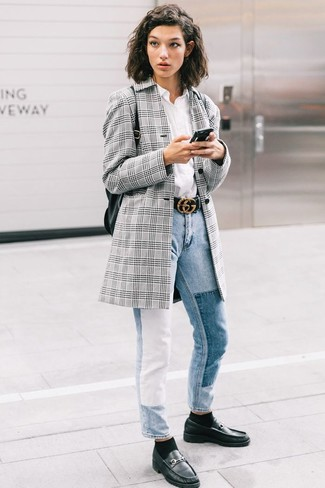 How to wear: black leather loafers, light blue jeans, white dress shirt, grey plaid blazer
