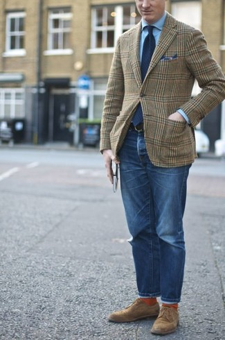 How to wear: brown suede derby shoes, blue jeans, light blue dress shirt, olive plaid wool blazer