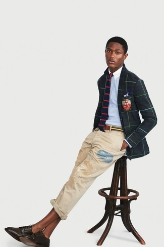 How to wear: dark brown leather derby shoes, beige ripped jeans, light blue dress shirt, dark green check blazer