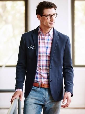 How to wear: black and white pocket square, blue jeans, pink gingham dress shirt, black blazer