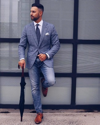 How to wear: brown leather derby shoes, blue jeans, white dress shirt, blue plaid blazer