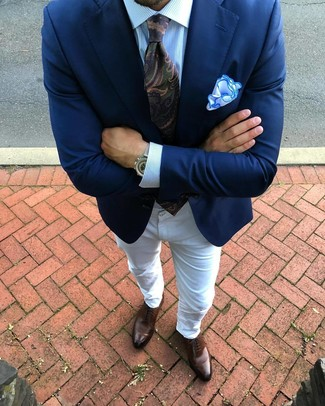 How to wear: brown leather oxford shoes, white jeans, light blue vertical striped dress shirt, navy blazer