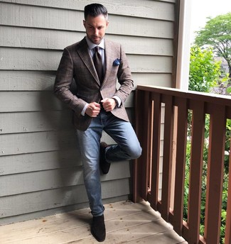 How to wear: dark brown suede loafers, blue jeans, white dress shirt, brown plaid blazer