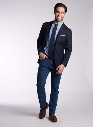 How to wear: dark brown leather loafers, navy jeans, blue gingham dress shirt, navy blazer