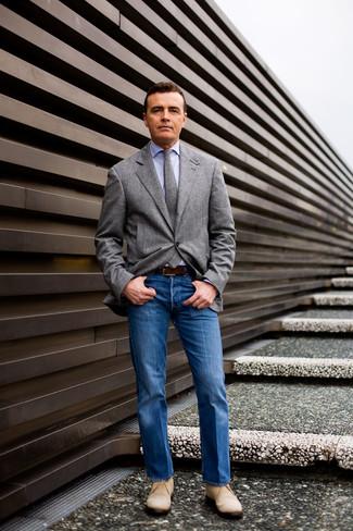 How to wear: beige suede desert boots, blue jeans, light blue dress shirt, grey wool blazer