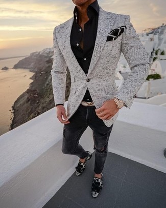 How to Wear a Black Dress Shirt For Men: A black dress shirt and charcoal ripped jeans will inject serious style into your current off-duty repertoire. For something more on the classier side to round off this ensemble, introduce white and black velvet tassel loafers to the equation.