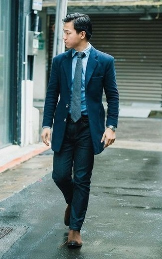 How to Wear Brown Suede Chelsea Boots For Men: Pair a navy blazer with navy jeans if you want to look stylish without spending too much time. Make a bit more effort now and add a pair of brown suede chelsea boots to the equation.