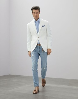 How to Wear a White Blazer For Men: A white blazer and light blue ripped jeans have become bona fide closet styles for most gentlemen. To introduce some extra classiness to your ensemble, complete your outfit with a pair of tan leather tassel loafers.
