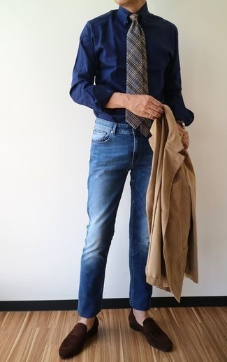 How to Wear a Navy Dress Shirt For Men: For an ensemble that's worthy of a modern sartorially savvy guy and casually sleek, rock a navy dress shirt with blue jeans. For something more on the smart end to finish off your look, complete this look with a pair of dark brown suede loafers.