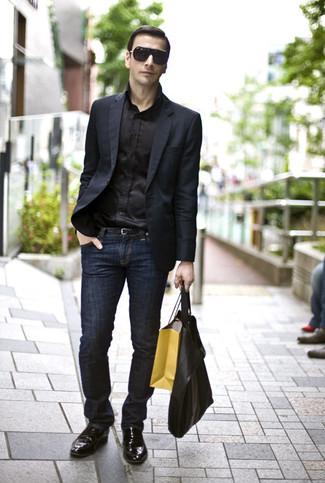 Men S Black Leather Oxford Shoes Navy Jeans Black Silk Dress Shirt