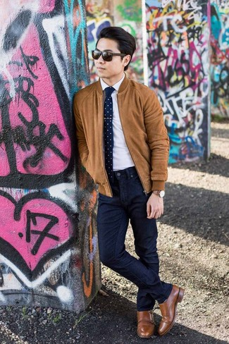 How to wear: brown leather double monks, navy jeans, white dress shirt, tobacco suede bomber jacket